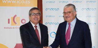 El presidente del ICO, José Carlos García de Quevedo y el consejero delegado de Endesa, José Bogas